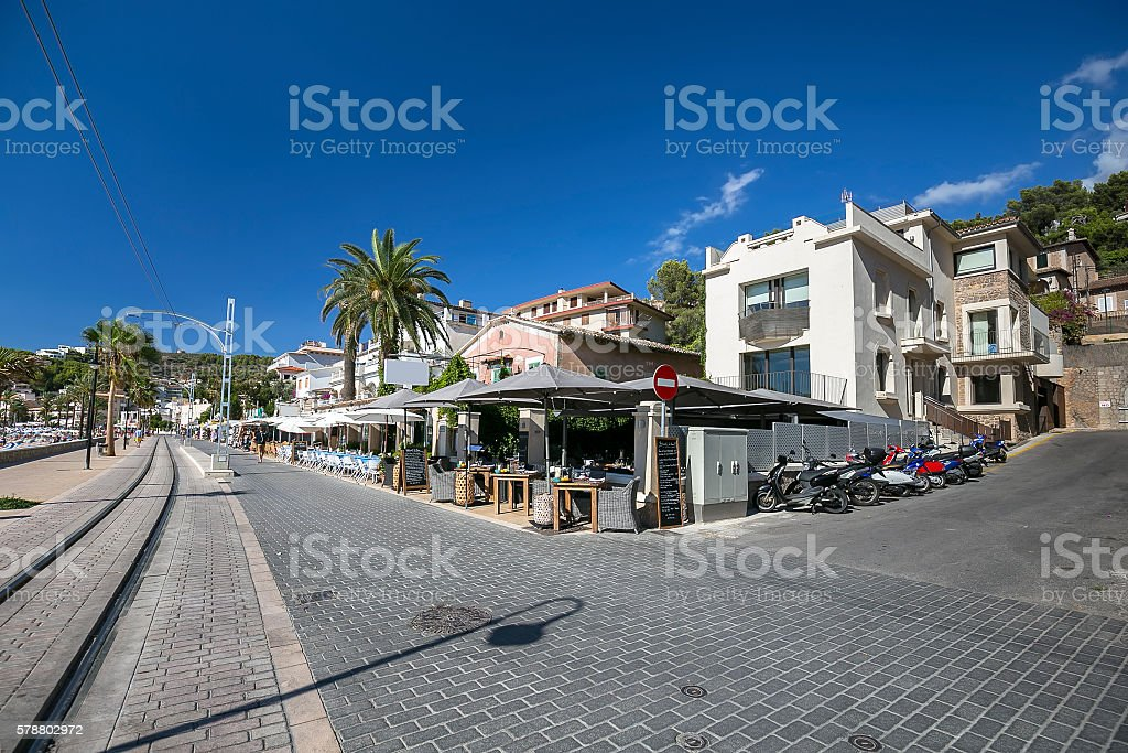 Street view in Port de Soller with tram way, Mallorca stock photo