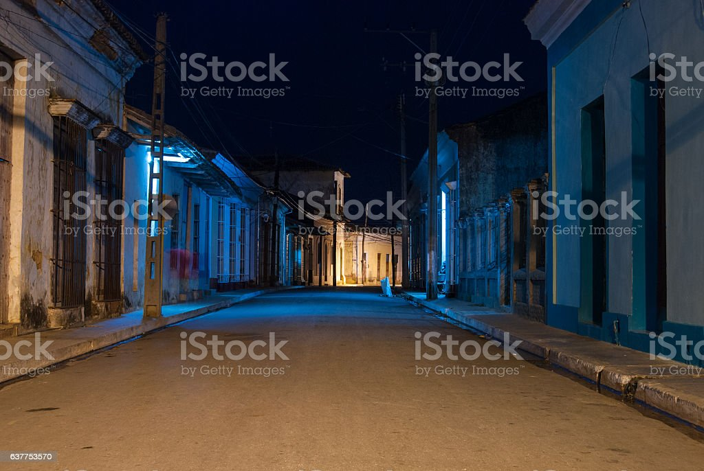 street view in Remedios at night, Cuba stock photo