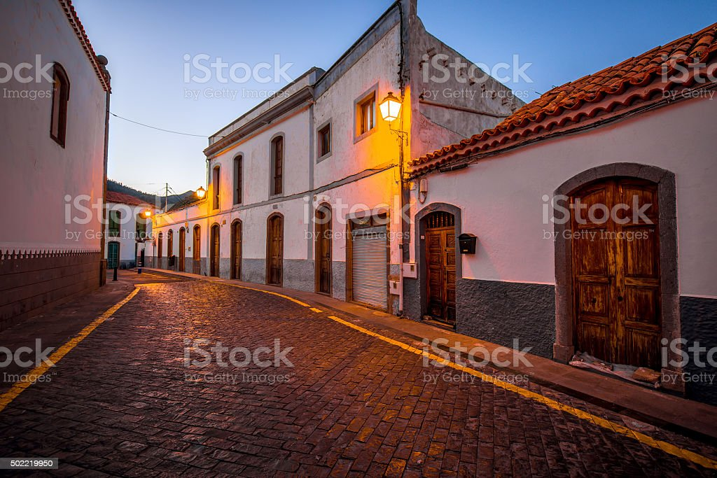 Street view in San Bartolome de Tirajana town stock photo