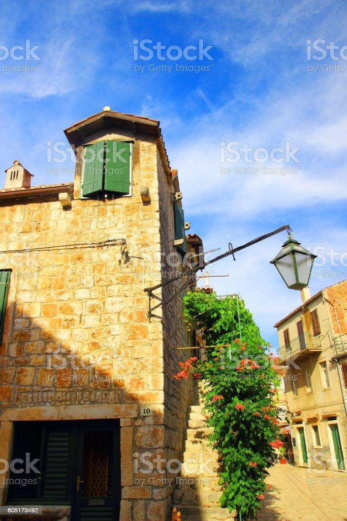Street view in Strari Grad, touristic destination on Island Hvar, Croatia stock photo