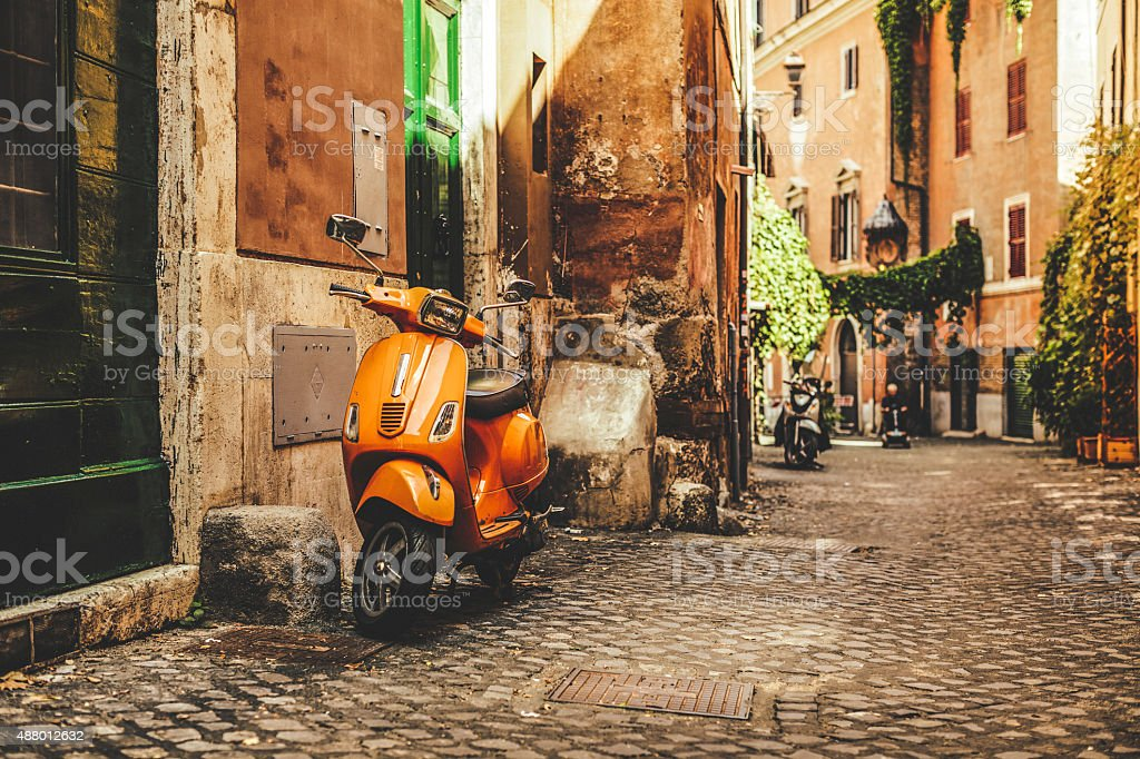 Street view in Trastevere, Rome's favorite neighborhood stock photo