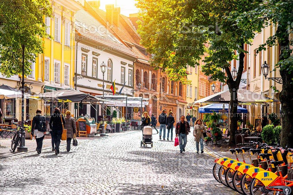 Street view in Vilnius stock photo