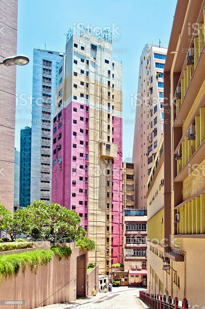 street view in Wan Chai, Hong Kong stock photo