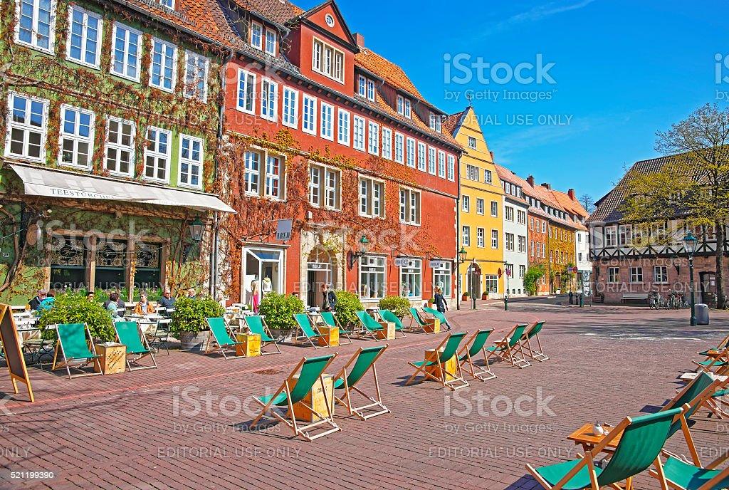 Street view of Ballhofplatz in Hanover in Germany stock photo
