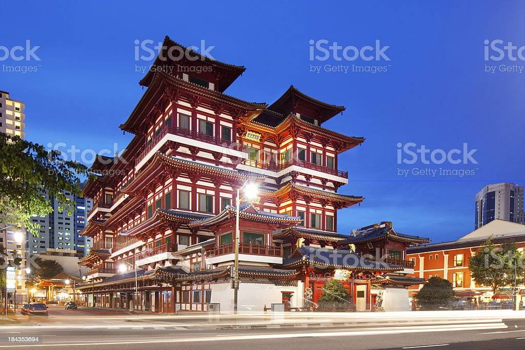 Street view of Buddha Toothe Relic Temple stock photo