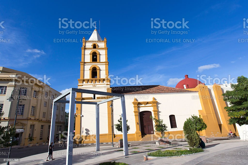 Street view of church in Holguin, Cuba. stock photo