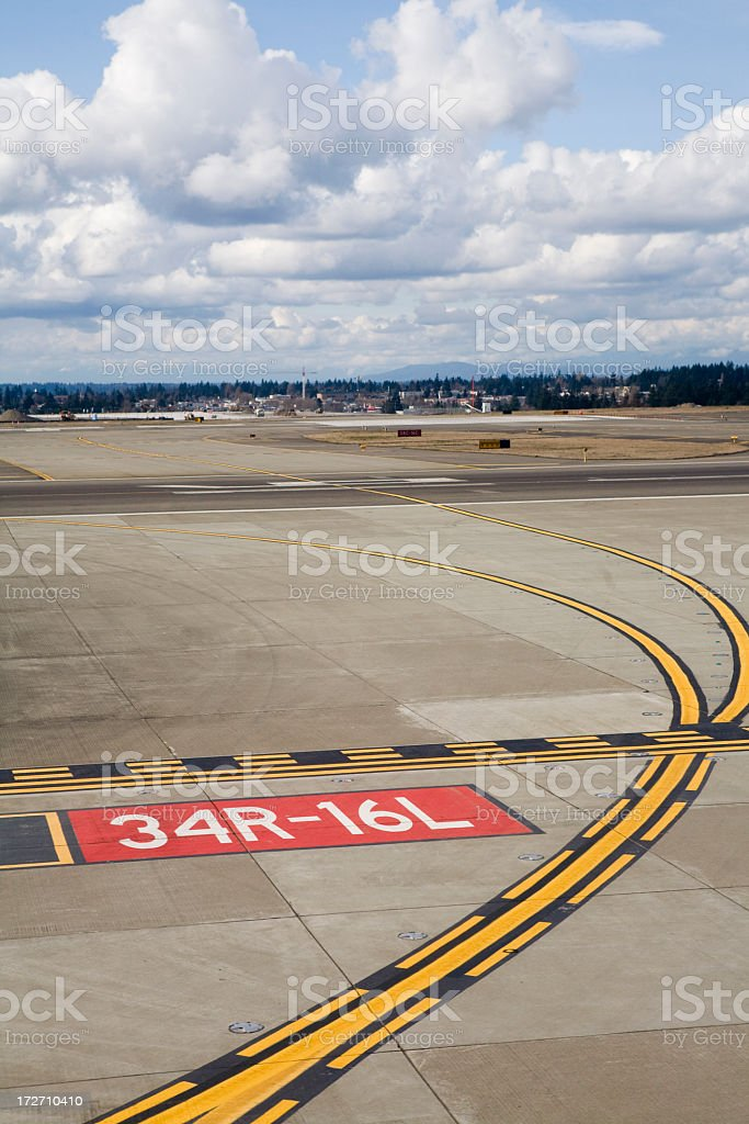 Street view of clear airport runway stock photo