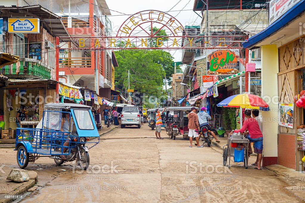 street view of Coron town stock photo