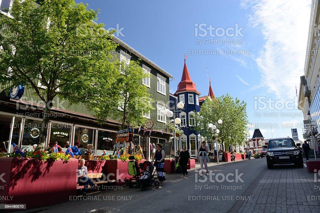 Street view of downtown Akureyri in Iceland stock photo
