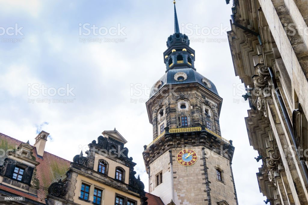 street view of downtown Dresden stock photo