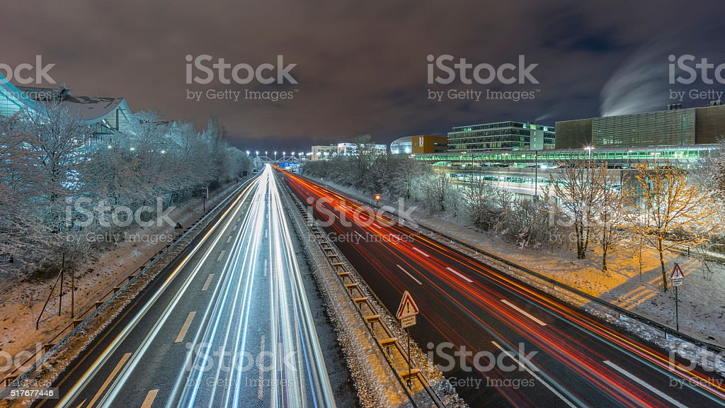 Street view of Hannover at winter evening. stock photo