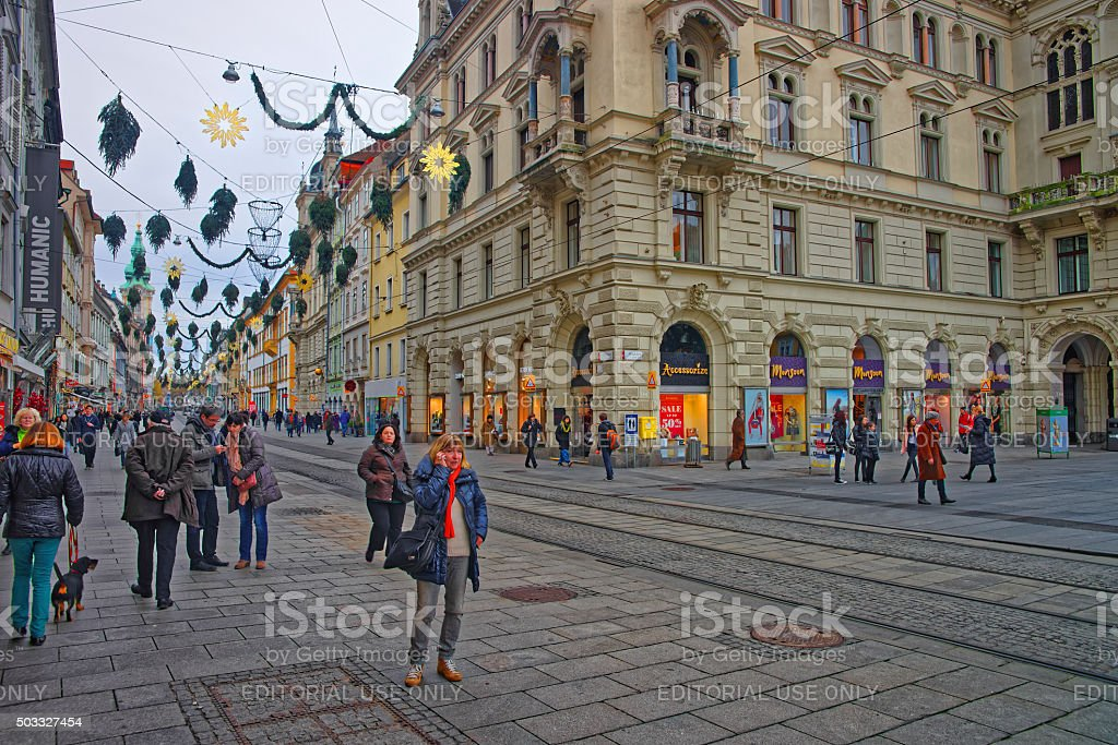 Street view of Herrengasse in Graz, Austria with Christmas decorations stock photo