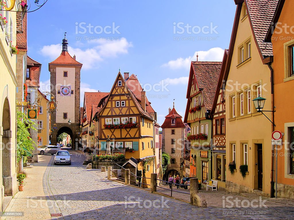 Street view of houses in Rothenburg ob der Tauber, Germany stock photo