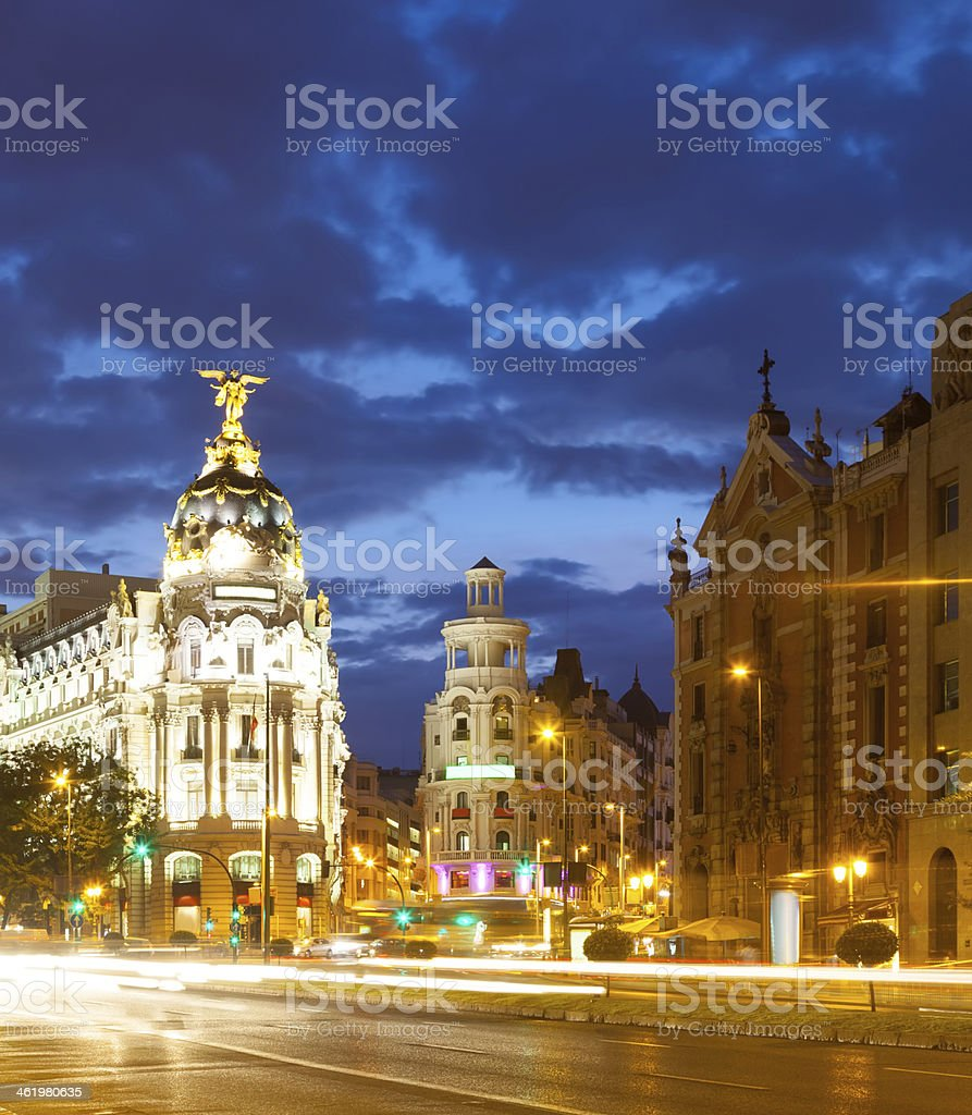 Street view of Madrid at night using long exposure  stock photo