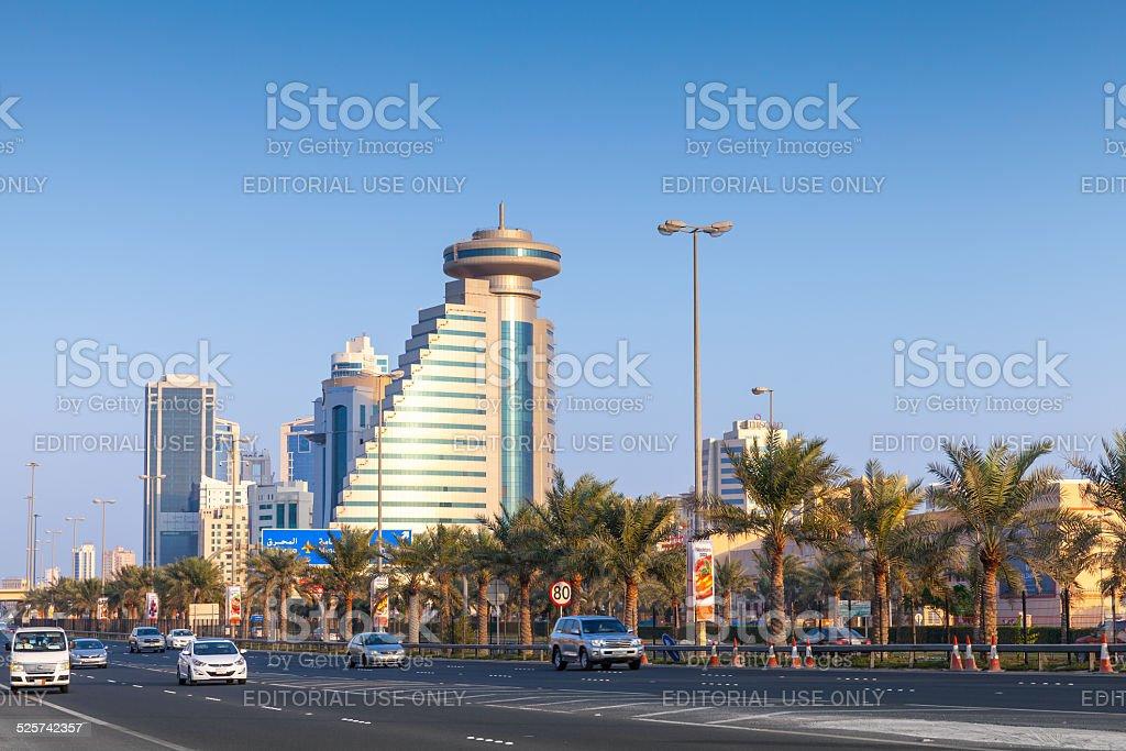 Street view of Manama city,Capital of Bahrain Kingdom stock photo