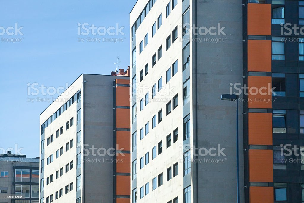 Street view of modern apartment buildings stock photo