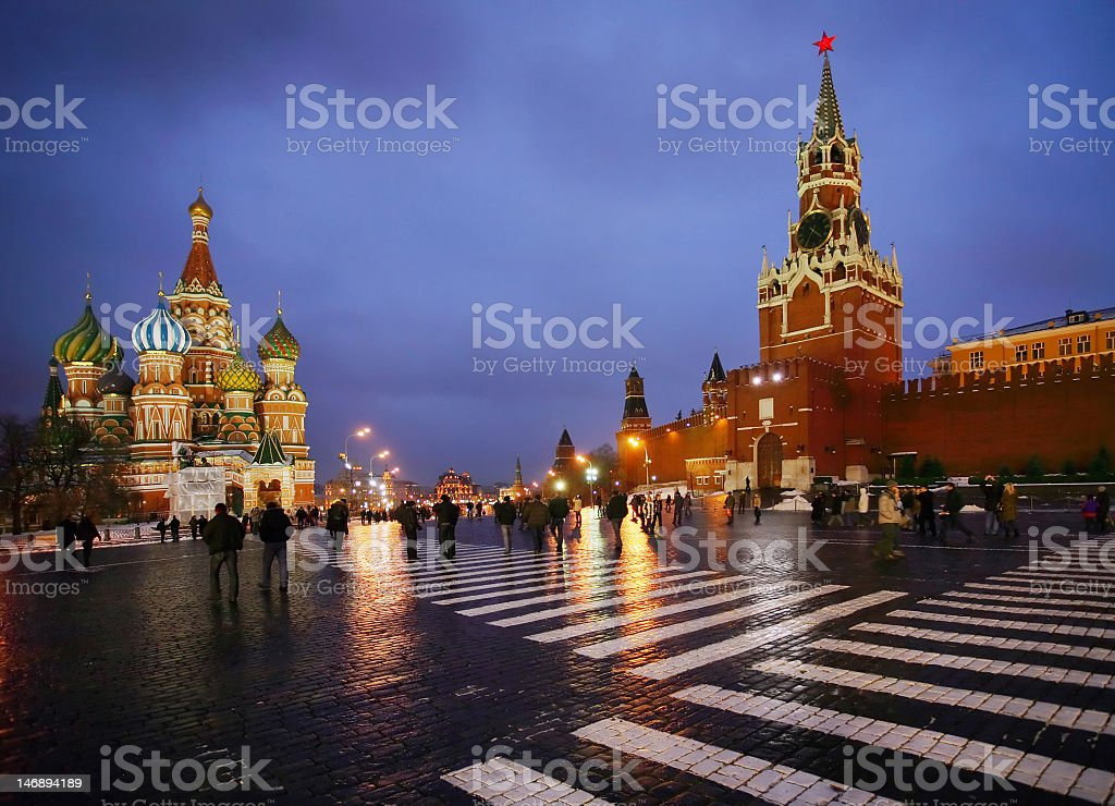 Street view of Moscow's Red Square at dusk stock photo
