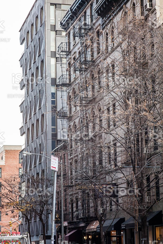 Street view of mulberry street. Apartments, stores. stock photo