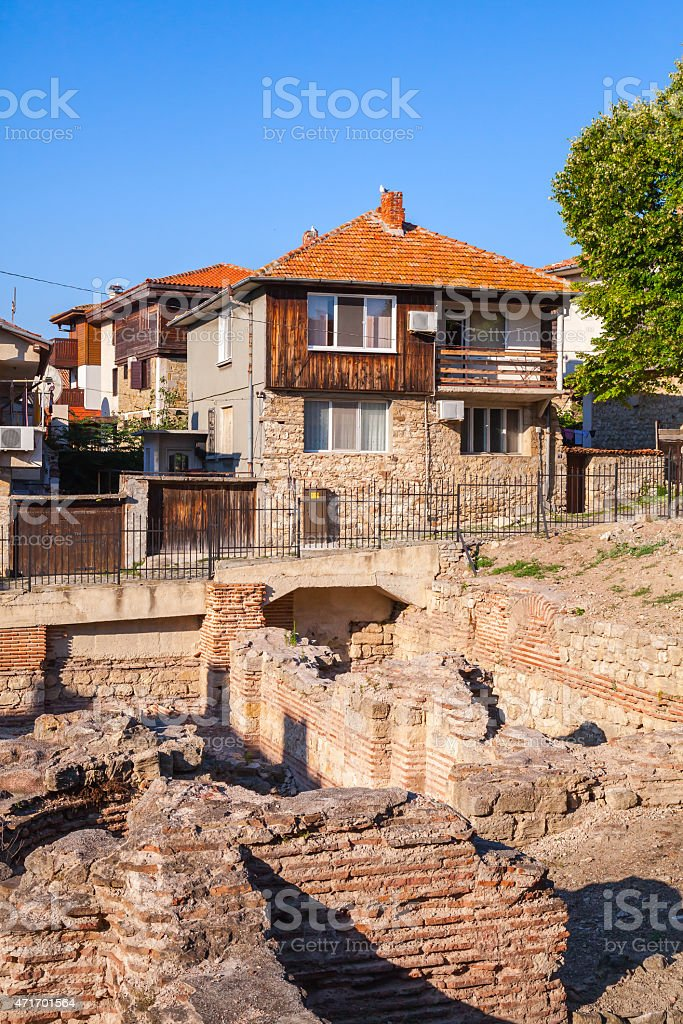 Street view of Nesebar, Bulgaria. Typical houses stock photo