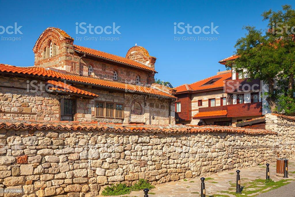 Street view of Nesebar, Bulgaria. Typical revival house stock photo