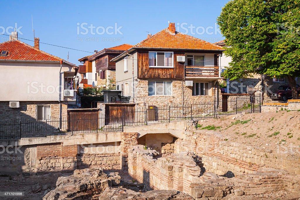 Street view of Nesebar, Bulgaria. Typical revival houses stock photo