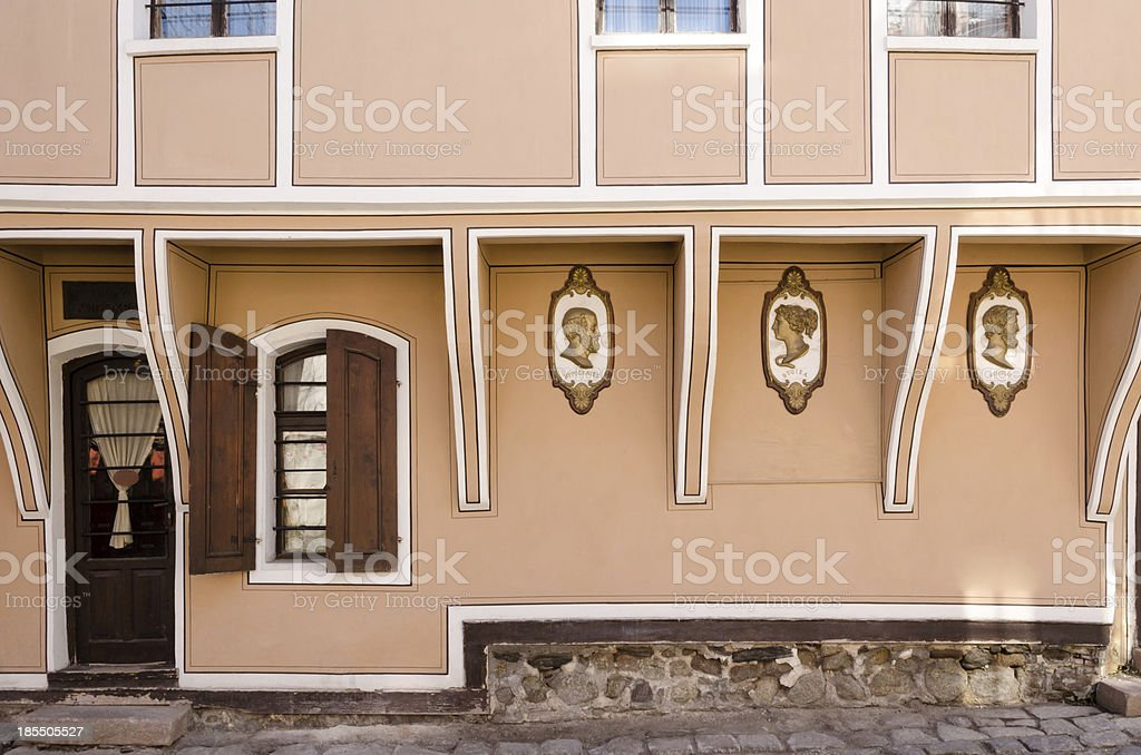 Street view of old pharmacy house in Plovdiv, Bulgaria royalty-free stock photo