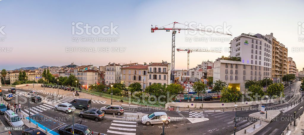 Street View of quartier Saint Charles in Marseille, France stock photo