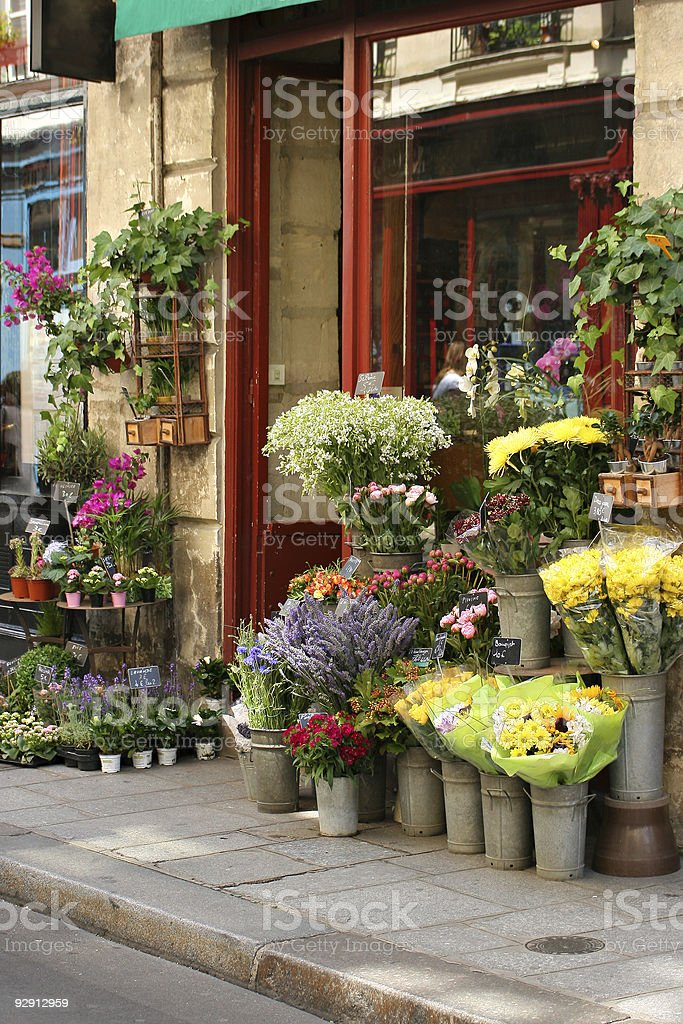 Street view of small flower shop stock photo