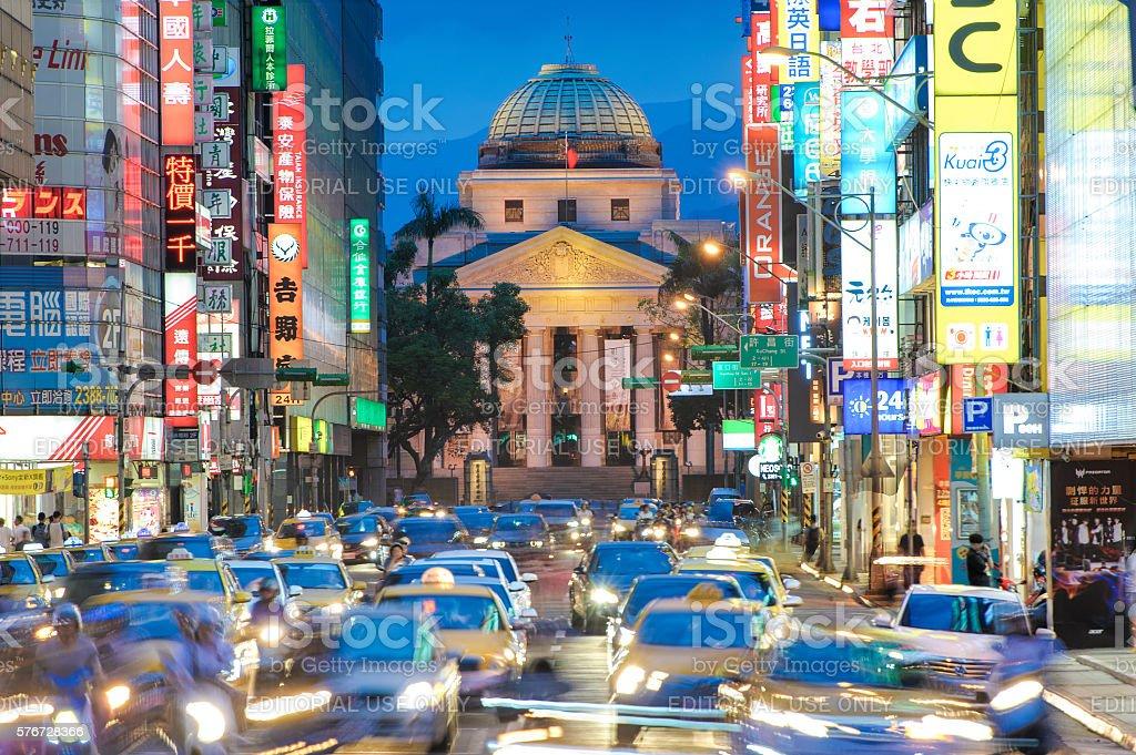 street view of taipei at night. stock photo