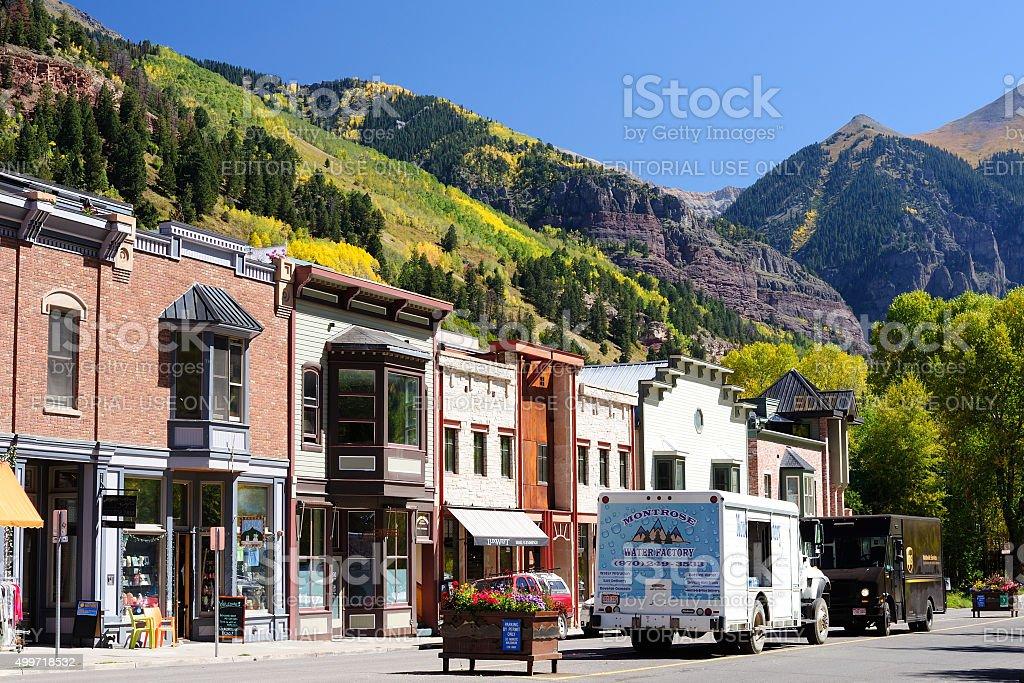 Street View of Telluride in Colorado stock photo