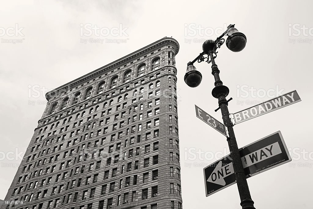 Street view of the Flatiron Building and Broadway sign in NY stock photo
