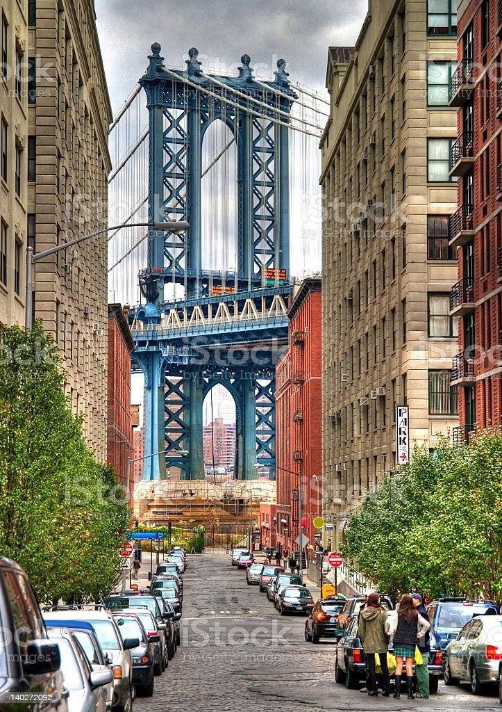 A street view of the Manhattan Bridge stock photo