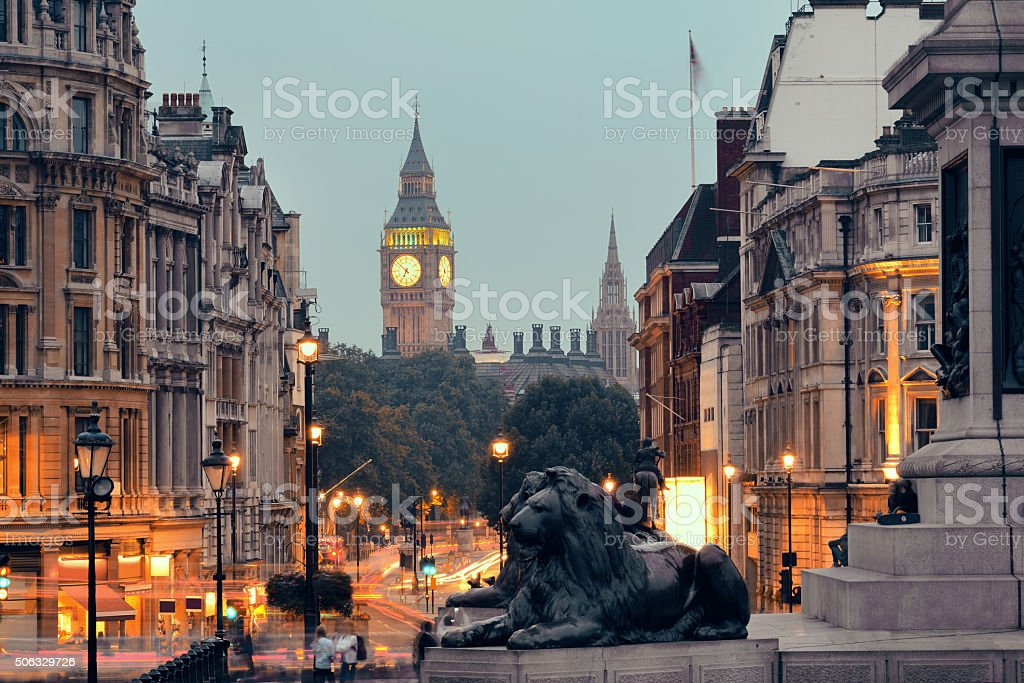 Street view of Trafalgar Square stock photo
