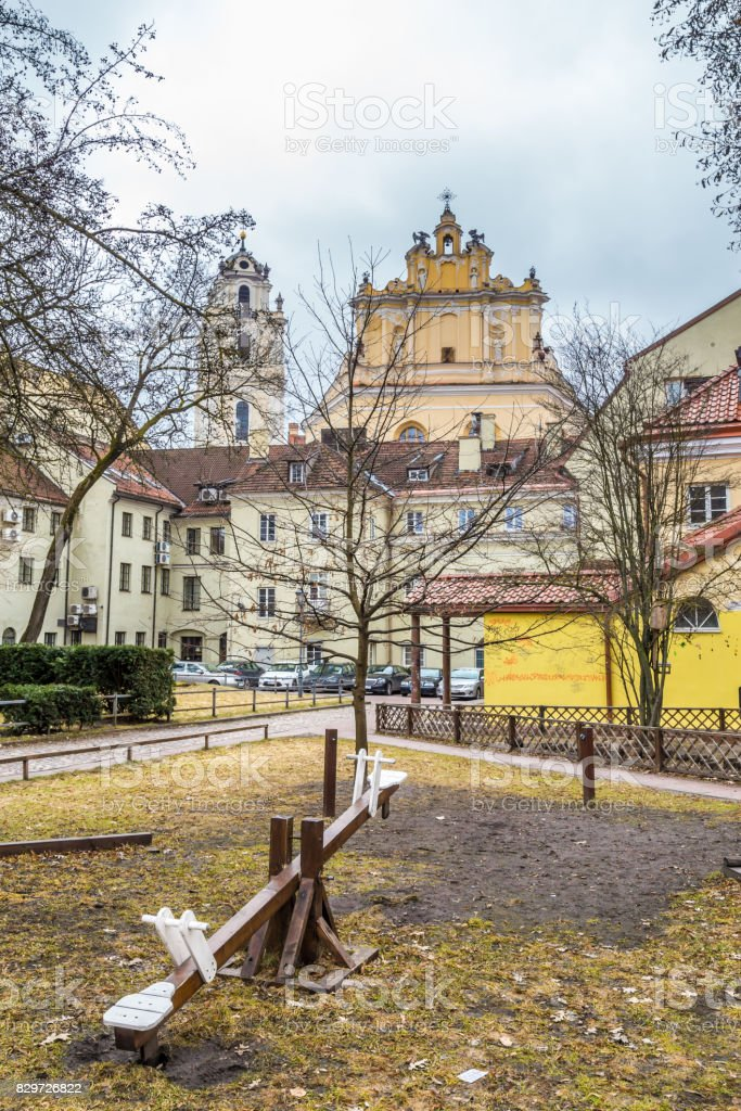 Vilnius, Lithuania - March, 11, 2017:  Street view old town Vilnius Lithuania stock photo