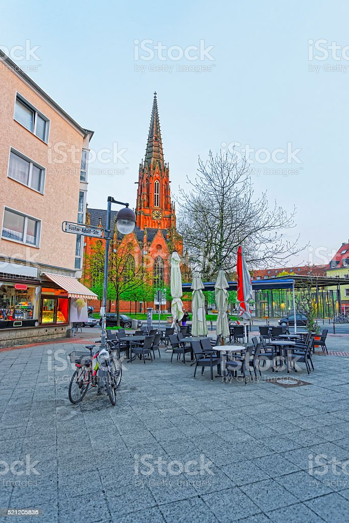 Street view on Church of Christ in Hanover in Germany stock photo