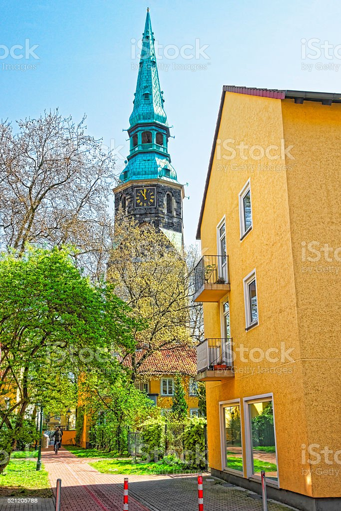 Street view on Church of Holy Cross in Hanover stock photo
