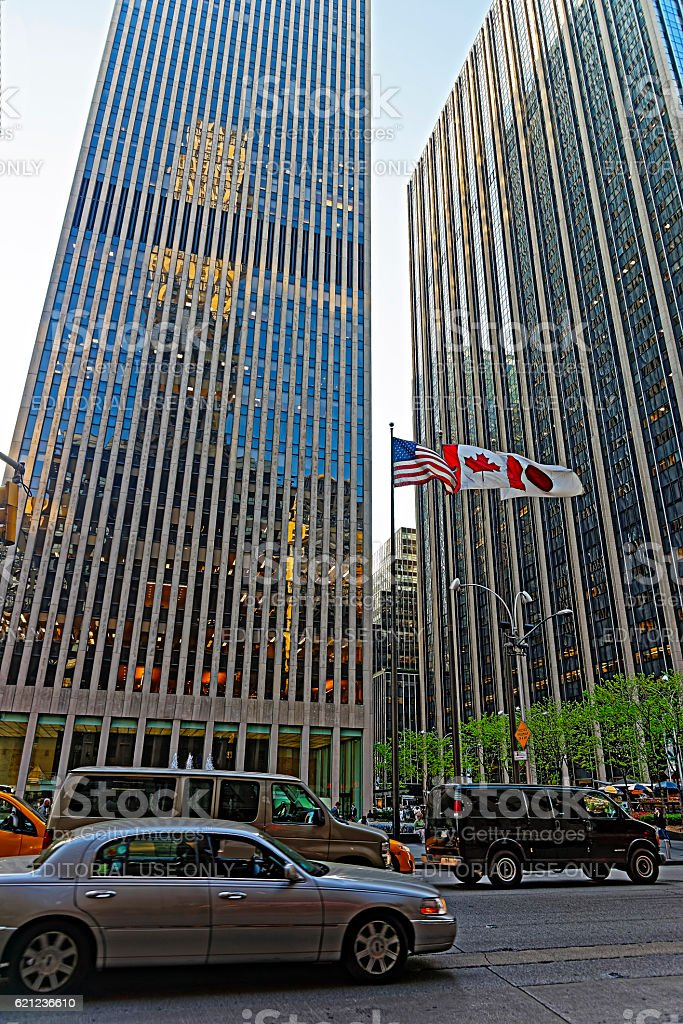 Street view on Exxon Building and Time-Life Building stock photo