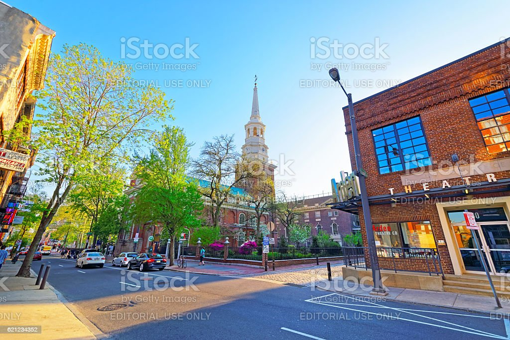 Street view on Independence Hall in Philadelphia PA stock photo