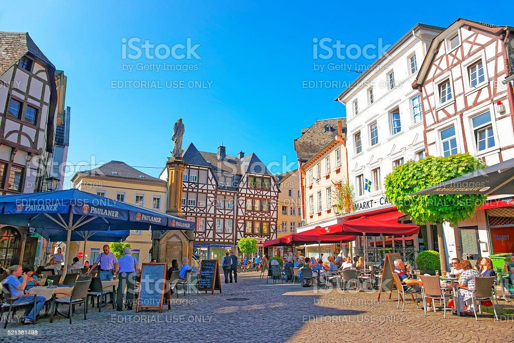 Street view on Marktplatz in Linz am Rhein stock photo