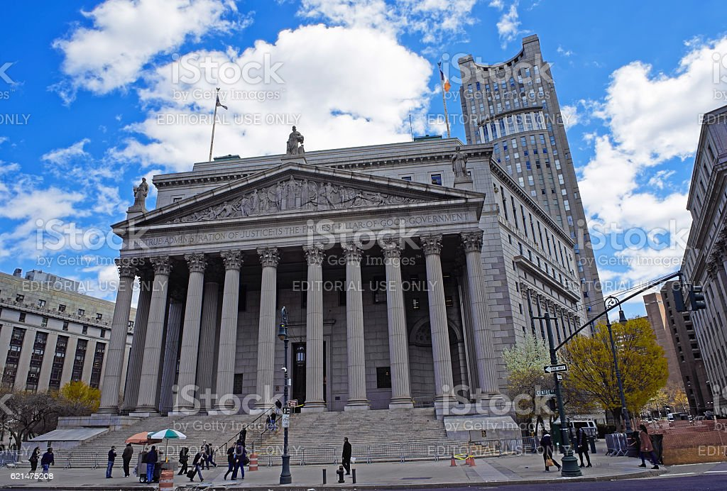 Street view on  New York Supreme Court stock photo