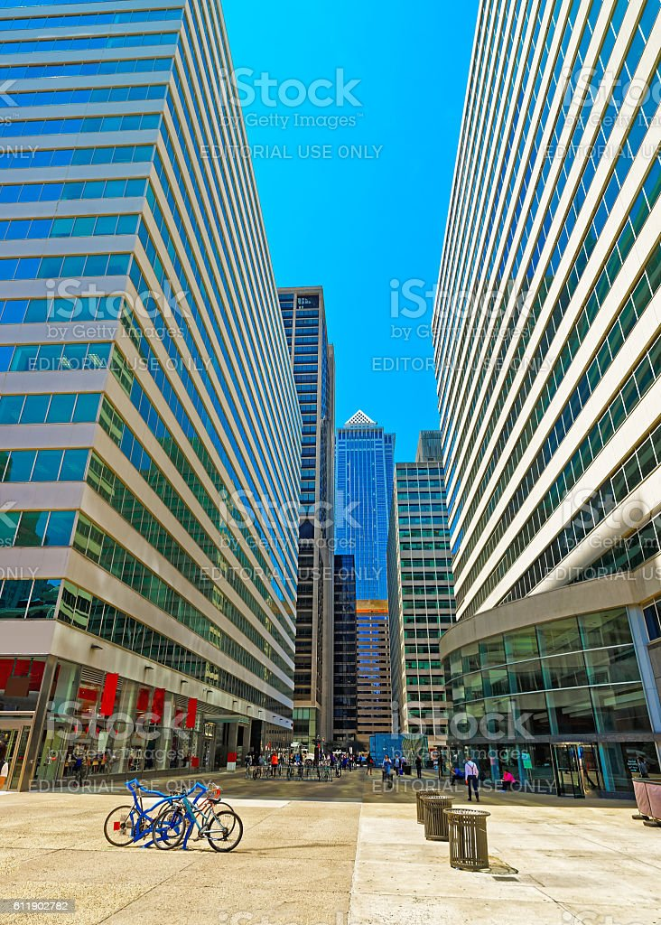Street view on Penn Center and skyline of skyscrapers stock photo