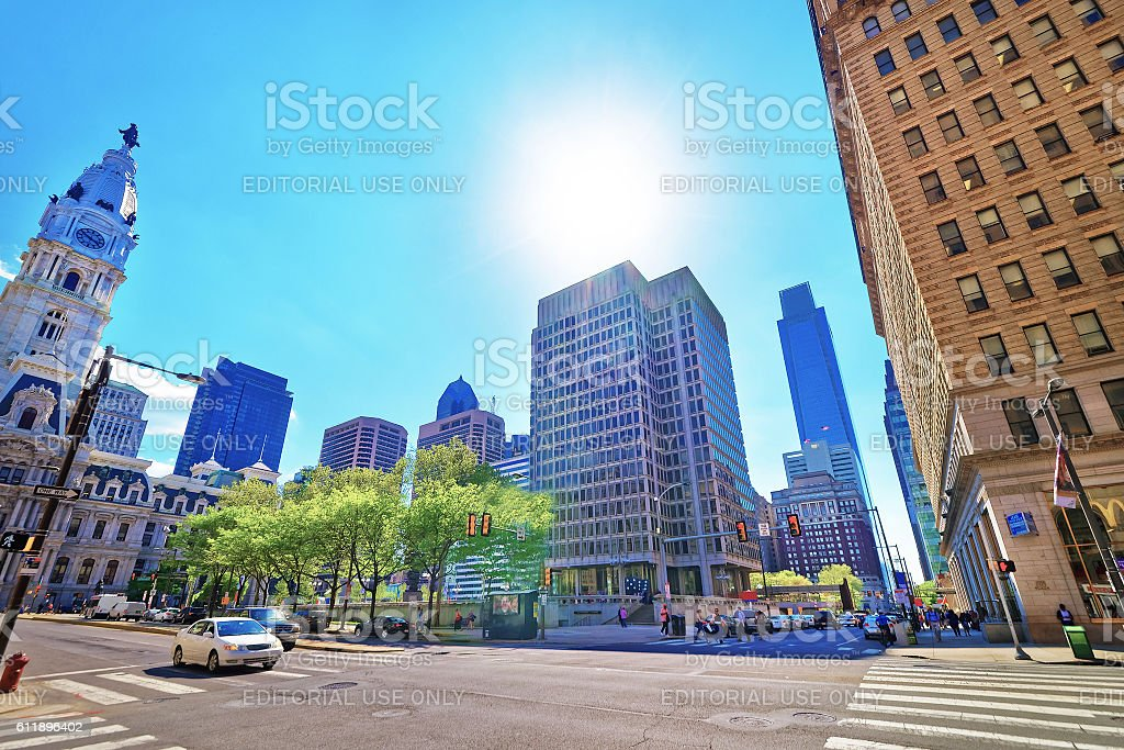 Street view on Philadelphia City Hall and skyline of skyscrapers stock photo