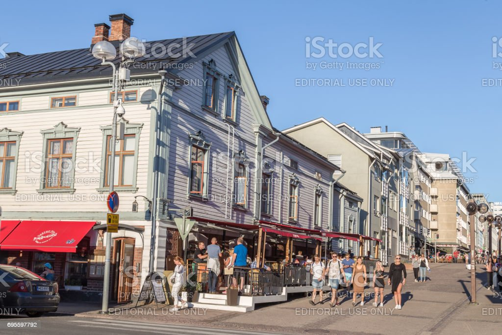 Street view Oulu Finland in summer stock photo