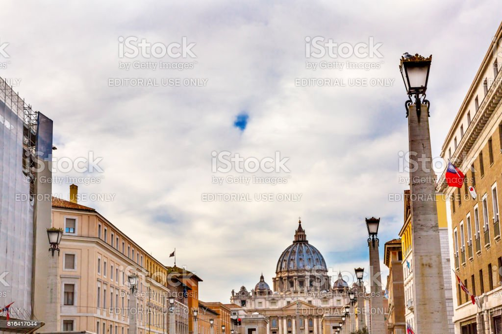 Street View Saint Peter's Basilica Vatican Rome Italy stock photo