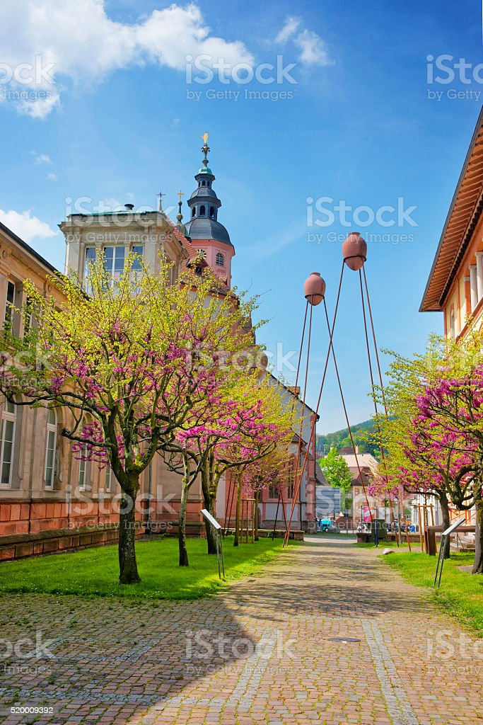 Street view to Baden-Baden church Stiftskirche and the city center stock photo
