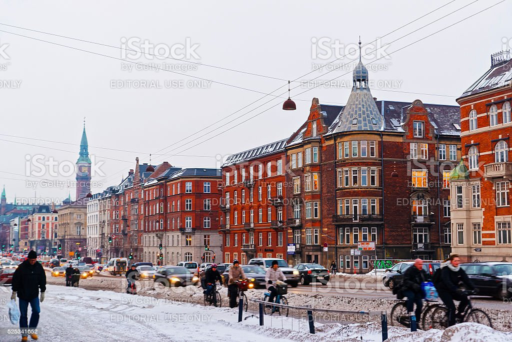 Street view to Copenhagen City Hall Tower in winter stock photo