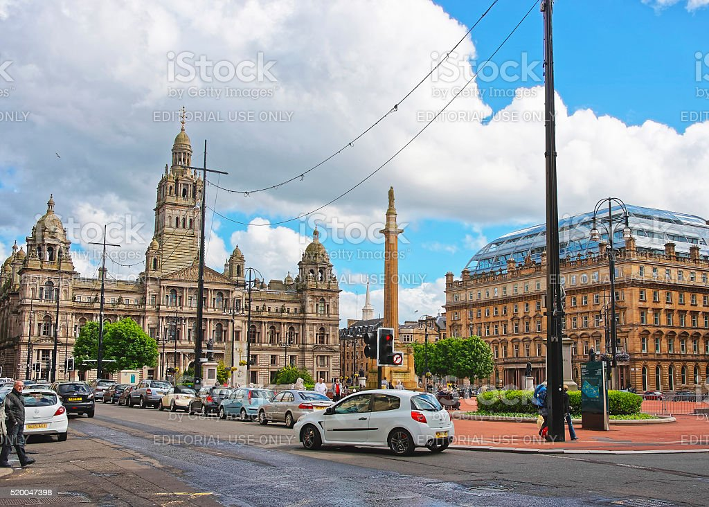 Street view to Glasgow City Chambers stock photo