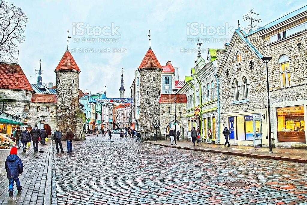 Street view to Guard Towers of Viru gate in Tallinn stock photo