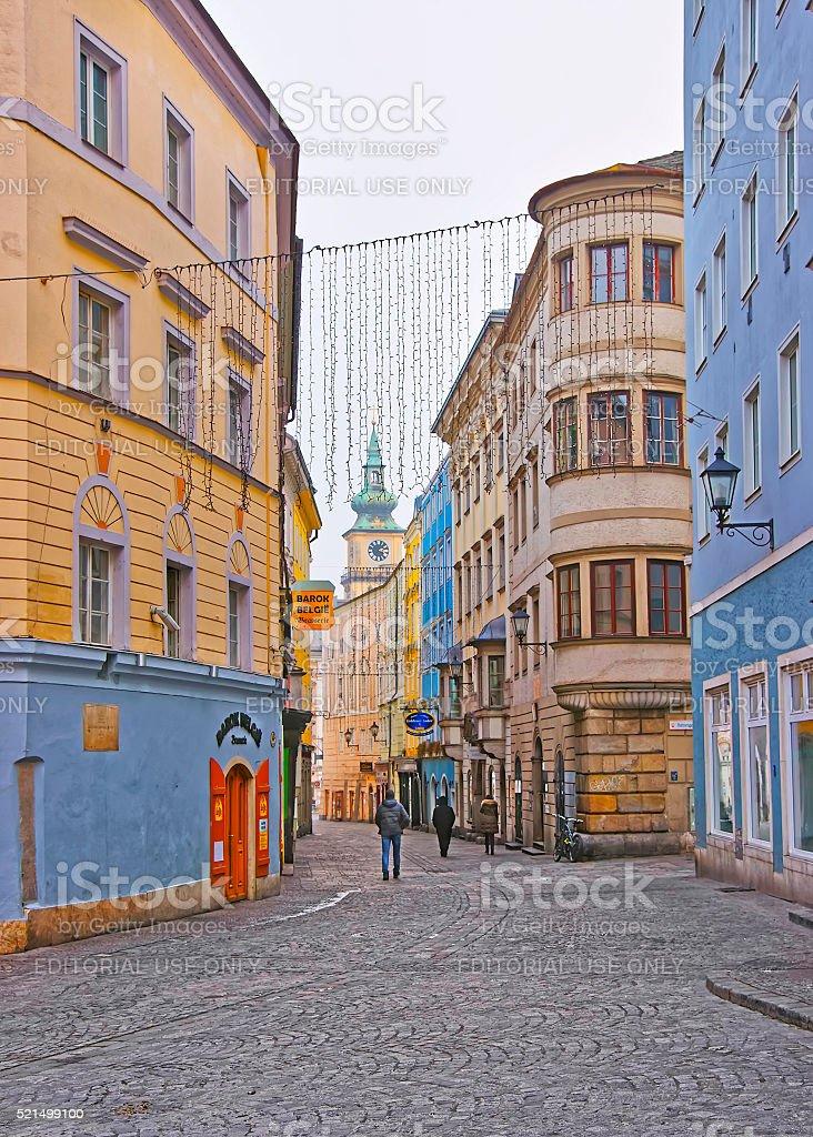 Street view to Parish Church in Linz in Austria stock photo