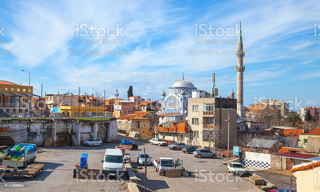 Street view with Fatih Camii old mosque stock photo
